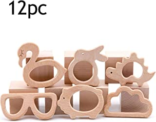 Promise Babe 12pc Baby Natural Wooden Teether Rabbit Animal Set Montessori Toys Organic Wood Teething Toy DIY Teething Jewelry Accessories