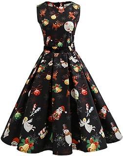Harpily Vestiti di Natale Lunga Donna Senza Maniche Vestito Donna Elegante Vintage Abito di Natale Donna Cerimonia Abiti d...