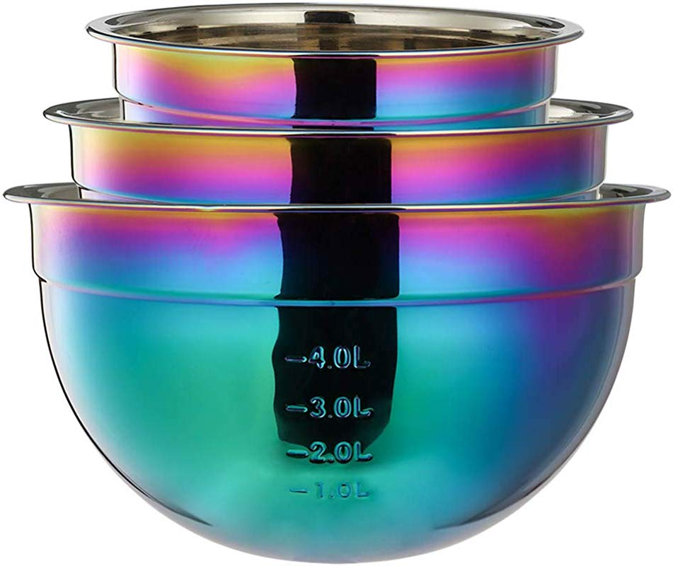 Mixing Bowl Set 18 8 Stainless Steel Rainbow Salad Bowls 3 Piece Colorful Nesting Bowl Deep For Chef Prep Cooking Baking Salad Fruit Food Preparation Cake Measure Bowl Includes 1 5 L 2 5L 4L