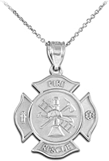 Sterling Silver Fire Rescue Maltese Cross Firefighter Badge Necklace
