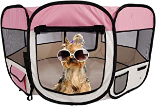 qotone Pet Puppy Playpen Dog Kennel Pop up Soft Sided Mobile Play Pet Pen Crates Enclosures for Small Medium Large Dog 600D Oxford Cloth Portable Foldable 45'' 8 Panel Pet Playpen with Carry Bag (1)