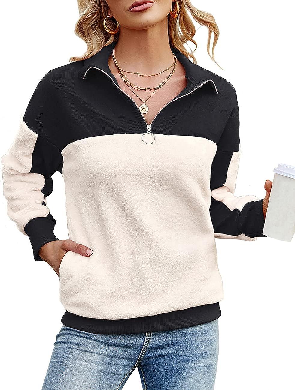 IECCP Womens Casual Stand Collar Sweatshirt Colorblock 1/4 Zip Long Sleeve Pullover Tops