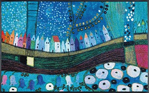 Wash + Dry Stadt in Blau Fußmatte, Acryl, bunt, 50x75x0.7 cm