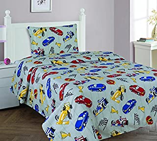 Elegant Home Multicolor Grey Red Blue Yellow Racing Cars Design 3 Piece Printed Twin Size Sheet Set with Pillowcase Flat Fitted Sheet for Boys / Kids/ Teens # Race Car (Twin)