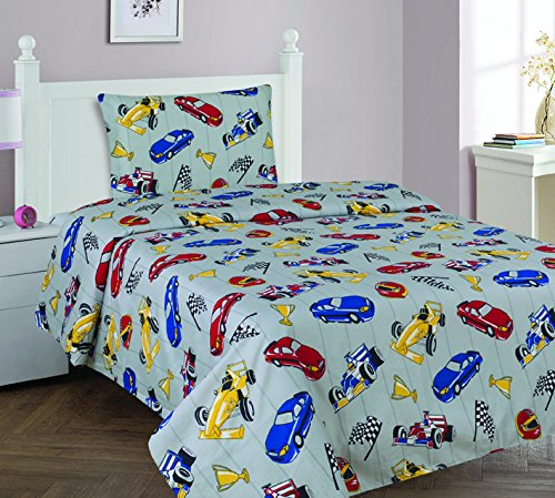 Elegant Homes Multicolor Grey Red Blue Yellow Racing Cars Design 3 Piece Printed Twin Size Sheet Set with Pillowcase Flat Fitted Sheet for Boys/Kids/Teens # Race Car (Twin)