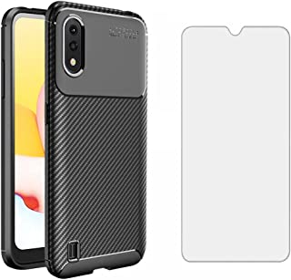 Phone Case for Samsung Galaxy A01 with Tempered Glass Screen Protector Cover and Cell Accessories Slim Thin Rugged Soft TP...