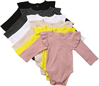 Unisex Baby Boy Girl Short Sleeve Ruffle Romper Bodysuit Jumpsuit Tops Summer Spring Clothes