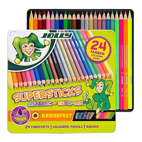 JOLLY Supersticks Classic Farbstifte | Metallic-Mix | 24 Buntstifte im Metalletui