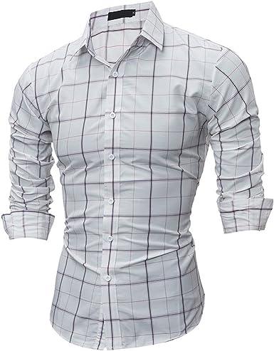 Usopu Camisa de Manga Larga Slim fit Cuadrada Casual de ...