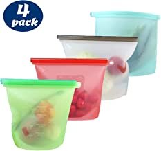 Reusable Zip Bags - 4 Pack Silicone Reusable Food Storage Freezer Bags, 100% Leakproof, eco-Friendly Lifestyle