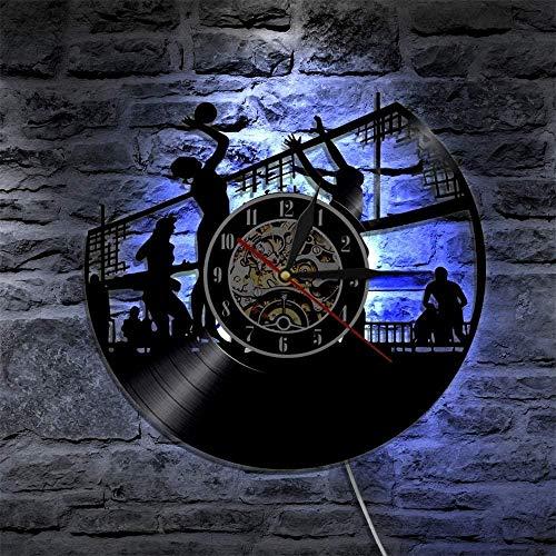 xiadayu Reloj de Pared de Vinilo 3D Voleibol para Mujer Deportes de Playa al Aire Libre Reloj de Pared Jugador de Voleibol iluminación Colgante de Pared decoración