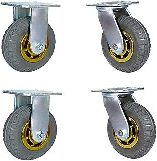 WaiMin Rubber Casters × 4, Meubilair Swivel Caster, Heavy Duty Industrial Castor, 4/5/6/8 Inch Transport Casters Wielen me...