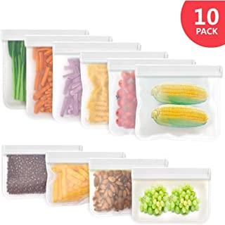 Reusable Ziplock Storage Food Bags - 6 Sandwich Bags & 4 Snack Bags Leakproof Freezer Safe Lunch Containers Extra Thick Kitchen School Travel Kids Snack Fruit Bread Bag Eco-Friendly BPA Free