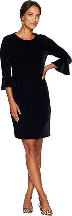Velvet 3/4 Sleeve Bodycon w/ Flared Sleeve