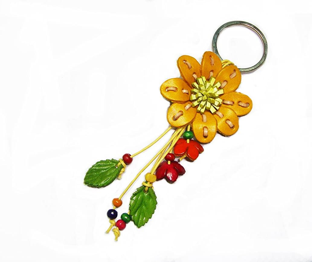 Padee Genuine Leather Small Flower Keychain Keyring Keyfob for Handbag Wallet Purse Car Charm Handmade Handcraft Keychain#HASKEY056-058 (Yellow)