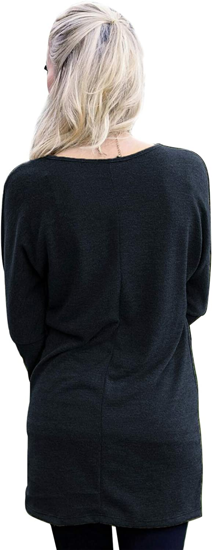 Maglie Lunghe Donna per Leggings Invernali Pullover Abito Scollo a Barca Felpa Vestito Ragazza Elegante Corto Blusa Manica Lunga T-shirt Autunno Tunica Taglie Forti Basic Top Tinta Unita Streetwear