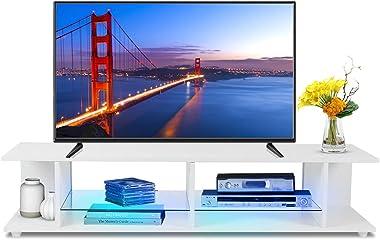GOTOTOP Meuble TV avec lumières LED, moderne, élégant, pour appareils multimédias, buffet 133 x 30 x 40 cm, blanc (220 V)