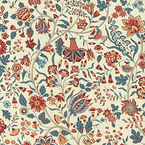Textiles français Tela Floral | Les Fleurs d'Inde - Fondo Blanco Crema con Rojo, Azul, melocotón e Amarillo - 100% algodón Suave | Ancho: 140 cm (por Metro Lineal)*