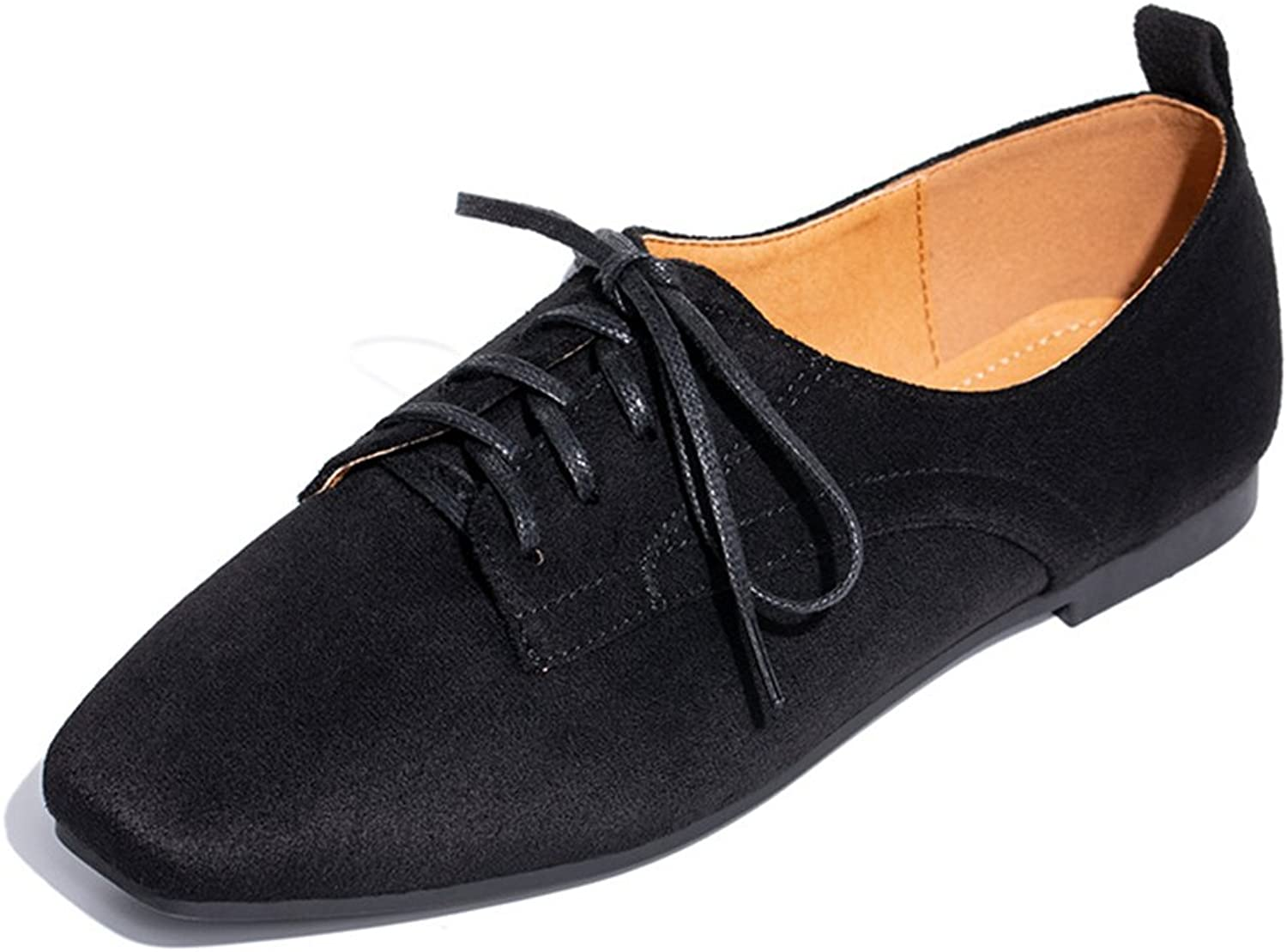 Btrada Women's Suede Walking shoes Stylish Summer Autumn No-Heel Flats Square Head Lace up Loafers