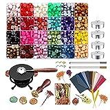 MOPOIN Sceau Cire Kit, 600 Pcs Perles de Cire à Cacheter avec Chauffe Joint de Cire et Cire Tampon pour Rétro Timbres de Cachet de Cire, Invitations de Mariage, Enveloppes de Cartes, Emballage Cadeau