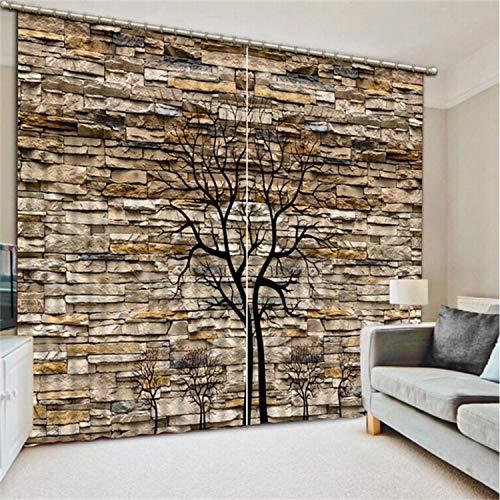 HAOTTP 3D Vorhänge Verdunkelungsbett Auskleidungen Anpassen Käufer Größe Ziegel Abstrakt Baum Mode Wohnkultur Schöne Wohnkultur H240xB280cm