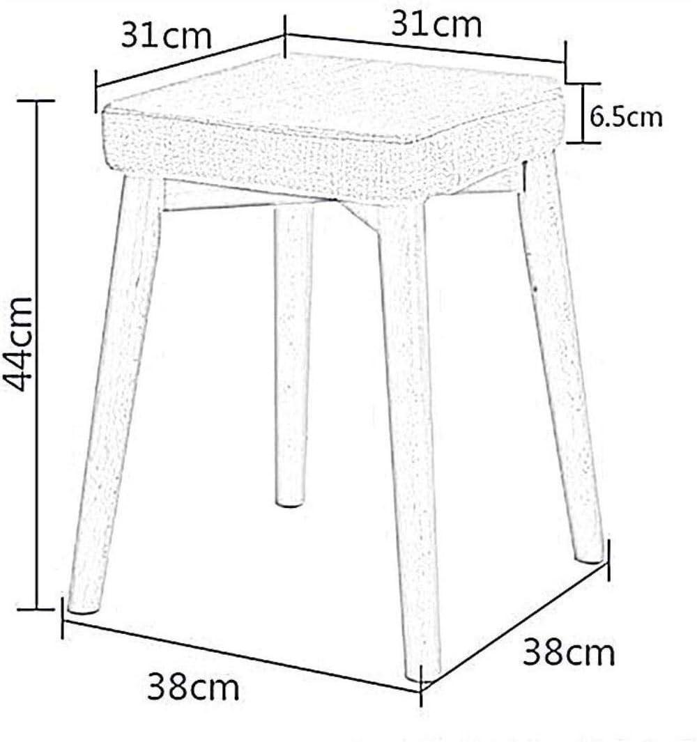 Chaise Tabouret en bois massif salle à manger en tissu Siège Accueil Salon Petit Tabouret Place Dressing Tabouret - 10 couleurs (Color : 008) 008