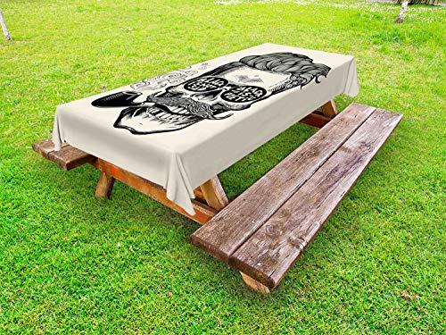 ABAKUHAUS Indie Tafelkleed voor Buitengebruik, Schedel met Pijp Glazen, Decoratief Wasbaar Tafelkleed voor Picknicktafel, 58 x 104 cm, Black Cream