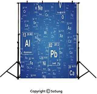 5x7Ft Vinyl Science Backdrop for Photography,Chemistry Tv Show Inspired Image with Periodic Element Table Image Print Art Background Newborn Baby Photoshoot Portrait Studio Props Birthday Party Banner