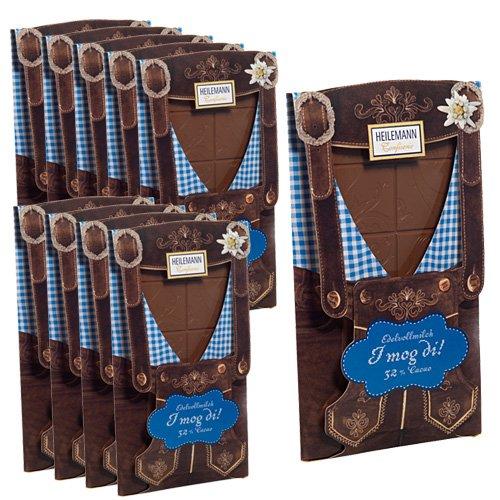 10er SET Flachtafel Lederhose Edelvollmilch Schokolade 80 g Tafel