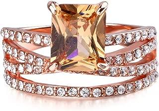 winsopee Shop 3Pcs/Set Rose Gold Diamond Gemstone Square Topaz Ring Women Wedding New Temperament Jewelry