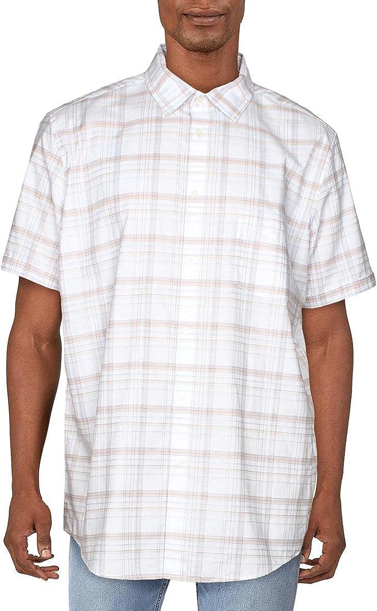 Tasso Elba Mens Plaid Short Sleeves Button-Down Shirt