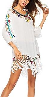 2021 قميص تغطية للنساء بدلة سباحة شاطئ بيكيني ملابس سباحة - مقاس واحد للسباحة (اللون: أبيض)