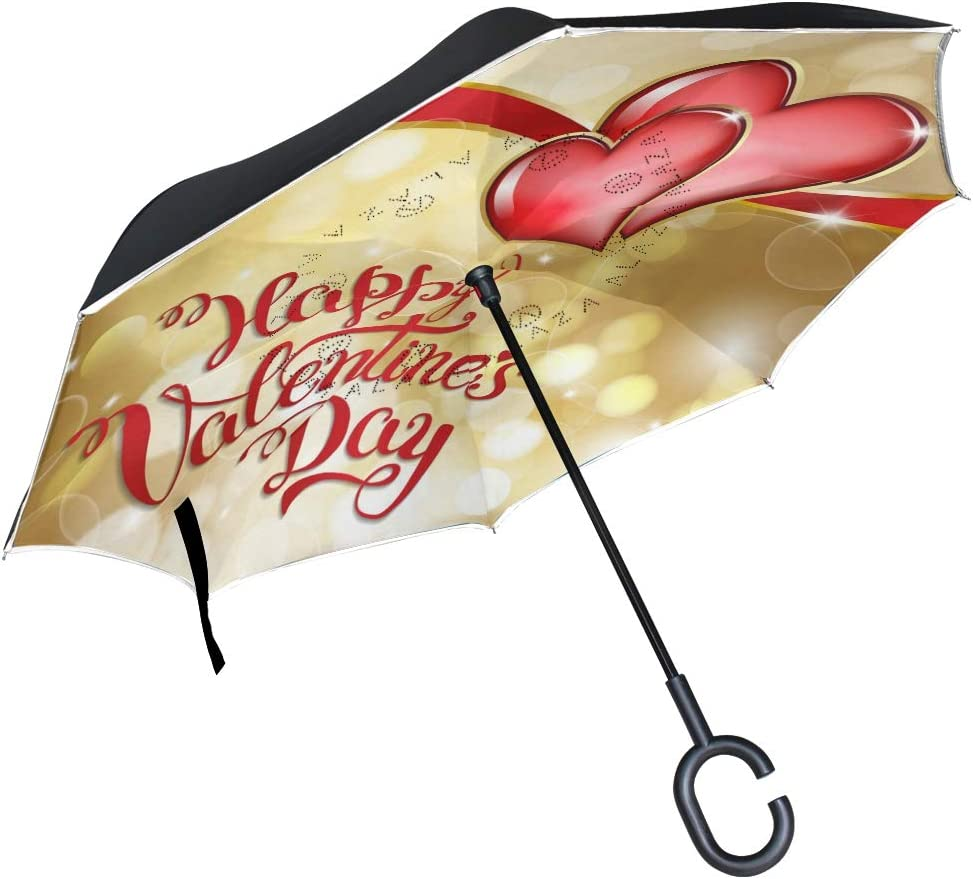 Pfrewn Happy Valentines Day Cheap mail order shopping Red Max 68% OFF Umbrella Windpro Inverted Golden