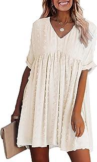 Summer Women's Short Sleeves Mini Dress Sexy V Neck Flowy Casual Dress Swiss Dot Short Loose Fit Plus Size Dress