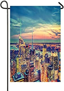 Rooftop View of NYC HDR Garden Flag, Premium Double Sided, Welcome Outdoor Decorative for Garden Yard Lawn, 12 x18 Inch