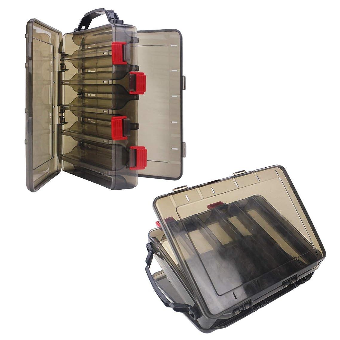 ディレクトリ導出バリーHAMILO タックルボックス 釣具収納ケース ルアー 釣り 両面収納可能 リバーシブル 2個セット