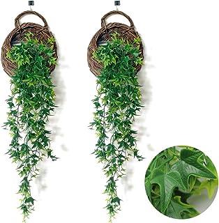 JUN-H 2pcs Plantas Colgantes Hiedra Verde Artificial,Utilizado Para Colgar Cestas y Paredes Colgantes, Decoración de Jardín en Casa(80 cm)