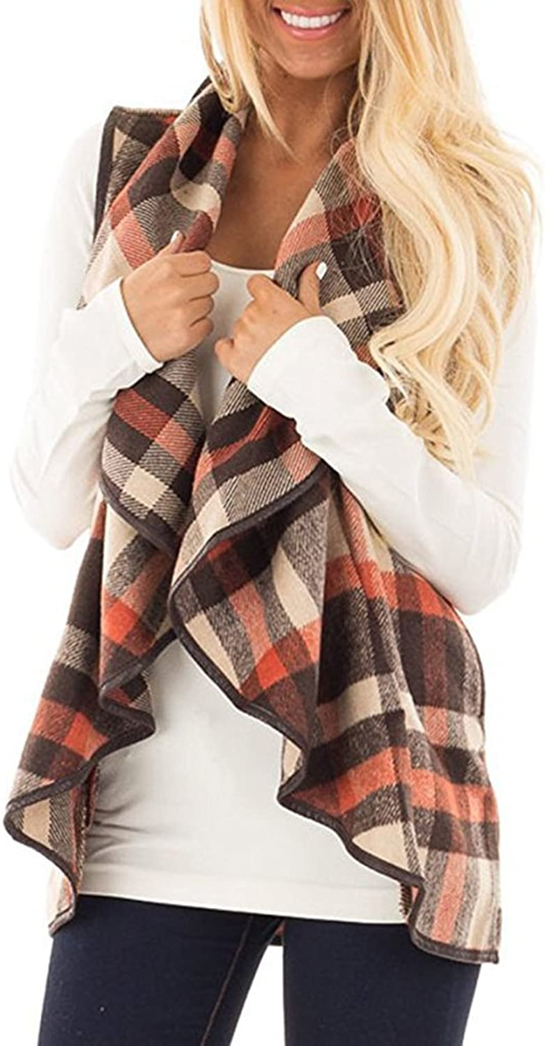 Annystore Women's Lapel Lightweight Sleeveless Open Front Plaid Vest Cardigan Coat with Pockets