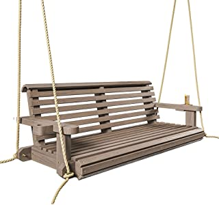 Porchgate Amish Heavy Duty 800 Lb Roll Comfort Treated Porch Swing W/Ropes (4 Foot, Warm Walnut Stain)