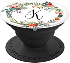 Letter K Floral Wreath Monogram Favor Gift Stocking Stuffer - PopSockets Grip and Stand for Phones and Tablets
