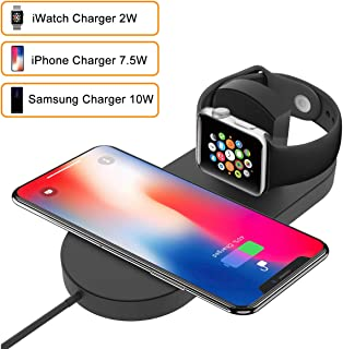 Wireless Charger Stand for Apple Watch, BQYPOWER 2-in-1 Charging Pad Docks Holder Compatible with iWatch Series 3/2/1, iPhone Xs Max/XS/XR/X/8/8 Plus, Samsung S8/Note8 Series