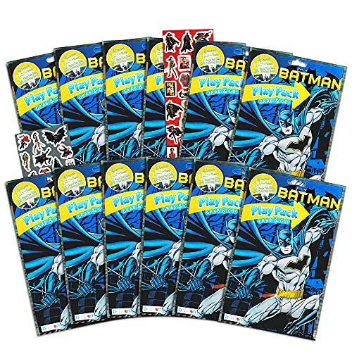 DC Comics Batman Party Favors Pack ~ Bundle of 12 Batman Play Packs Filled with Stickers, Coloring Books, Crayons with Bonus Justice League Sticker (Batman Party Supplies)