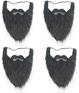 Black Full Beard and Mustache face Beard for Kids Elastic Facial Hair Halloween Viking Costume 4 Pack
