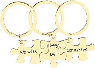 """Aooaz Key Chain Pieces 3 Pcs Puzzle Engraved""""We Will Always Be Connected"""" Keychain for Men"""