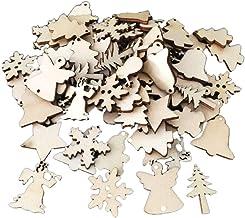DYNWAVE 50 Peças de Enfeites de Natal Mistos com Formas de Madeira E Decoração de Festa de árvore de Natal