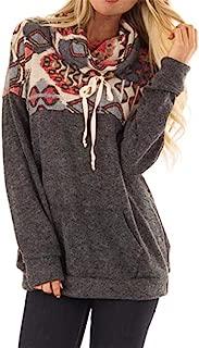 Women's Ethnic Style Retro Printed Stitching Pocket Pile Neck Long Sleeve Drawstring Sweatshirt