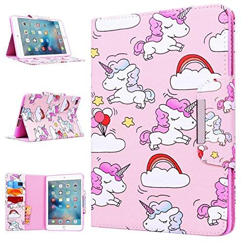 WE LOVE CASE Apple iPad Mini 1 / 2 / 3 Cover Wallet Unicorno Custodia Pelle Flip Rosa Copertura PU Leather Silicone TPU Bumper Antiurto Protettiva SupportoCassa per Apple iPad Mini 1 / 2 / 3