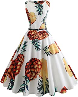 New Women Tea Dress Vintage Sleeveless Belt Pineapple Print Casual Party Prom Swing Evening Midi A-Line Dress
