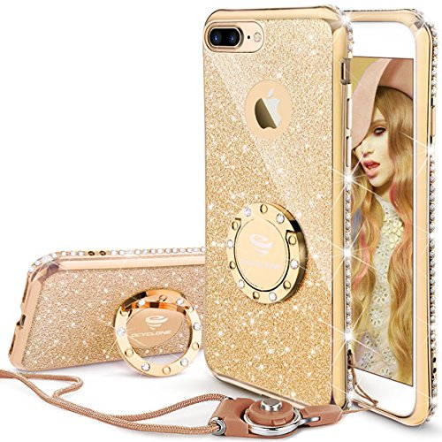 Cover iPhone 7 Plus,Cover iPhone 8 Plus Glitter Brillantini per Dona,Neck Strap e Kickstand Silicone Bling Diamante Brillante Cristallo Custodia Gel per iPhone 7 Plus,iPhone 8 Plus Oro,-5.5 inch