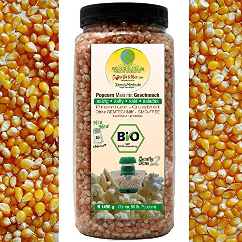BIO Premium Popcorn-Mais salzig für Heissluft Automaten 1450 g. Mit Meersalz, ohne Gentechnik glutenfrei